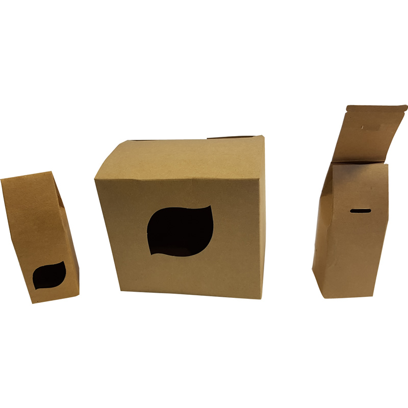 Diecut cartons with auto stripped holes – including small locking hole for small carton.